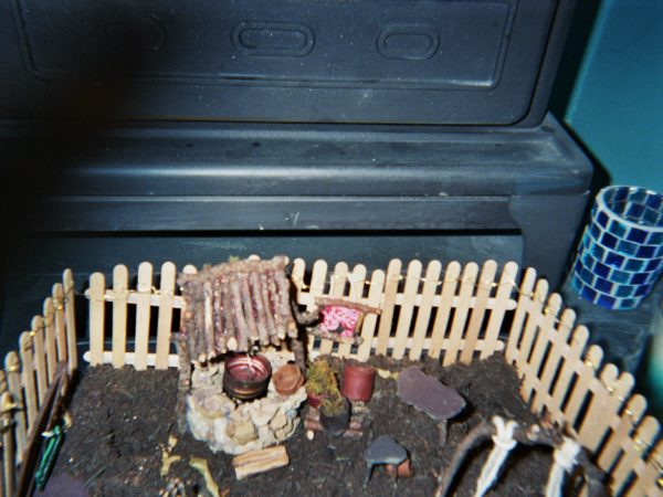 Elio's photograph (for the 21st Century Kids) of the fairy garden. there is a little well and a fence that looks like its made out of icelolly sticks.
