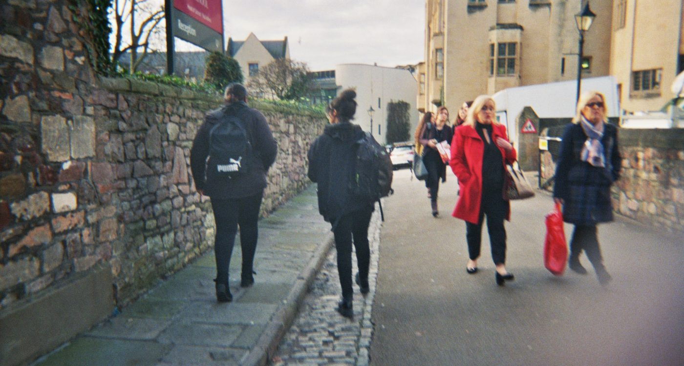 Lydia's photograph (for the 21st Century Kids) of the street outside of her sixth form. People are walking down the street