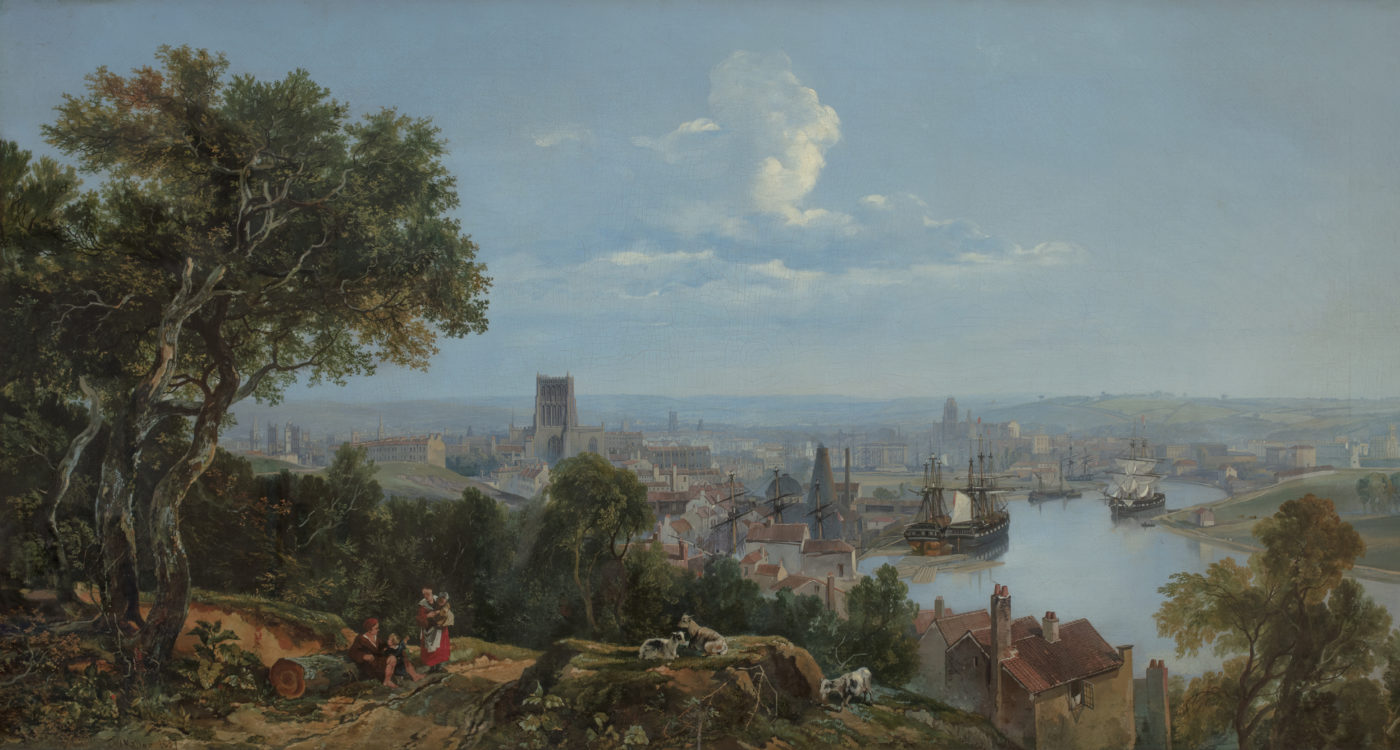 Oil on canvas painting of view of Bristol from Clifton Wood. By William James Müller, 1837. K1542