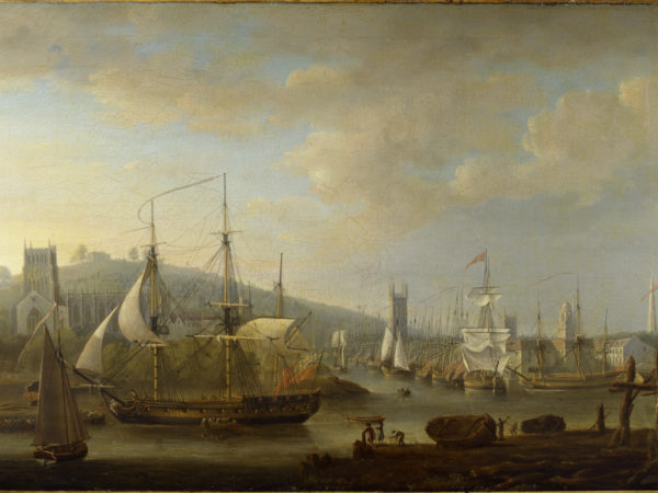 Oil on canvas painting of view of Bristol Harbour with the Cathedral and the Quay, by Nicholas Pocock, 1785. K742