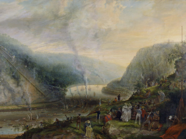 Oil on canvas painting of the Ceremony of Laying the Foundation Stone of the Clifton Suspension Bridge, 1837. By Samuel Colman.
