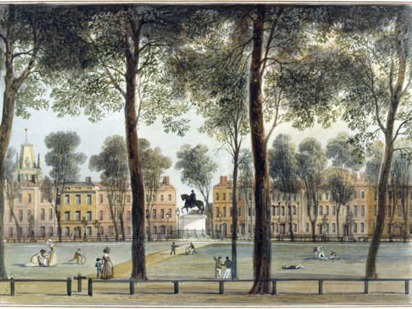Watercolour painting of Queen Square, looking south-west. By Thomas L. Rowbotham, 1827. M2206