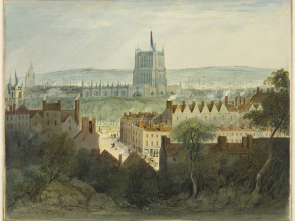 Watercolour painting of Bristol's Cathedral, College Green and College Street by Thomas Leeson Rowbotham, 1827