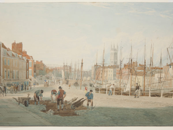 Watercolour painting of St Augustine's Parade, about 1825. By Samuel Jackson. Mb700