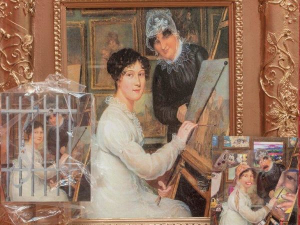 A painting in progress, of a reflection of an existing painting from the Bristol School Collection. There is a portrait reworked by a younger artist with 2 other smaller images of the original they are referencing.
