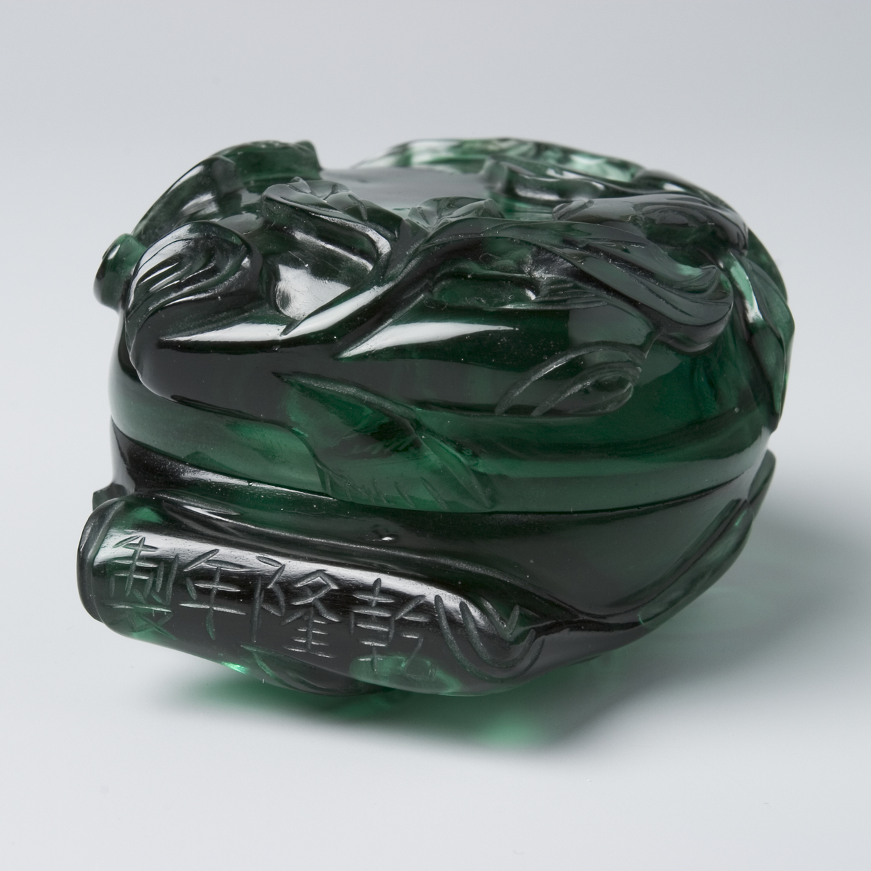 Green glass box in the shape of a peach, China late 18th century