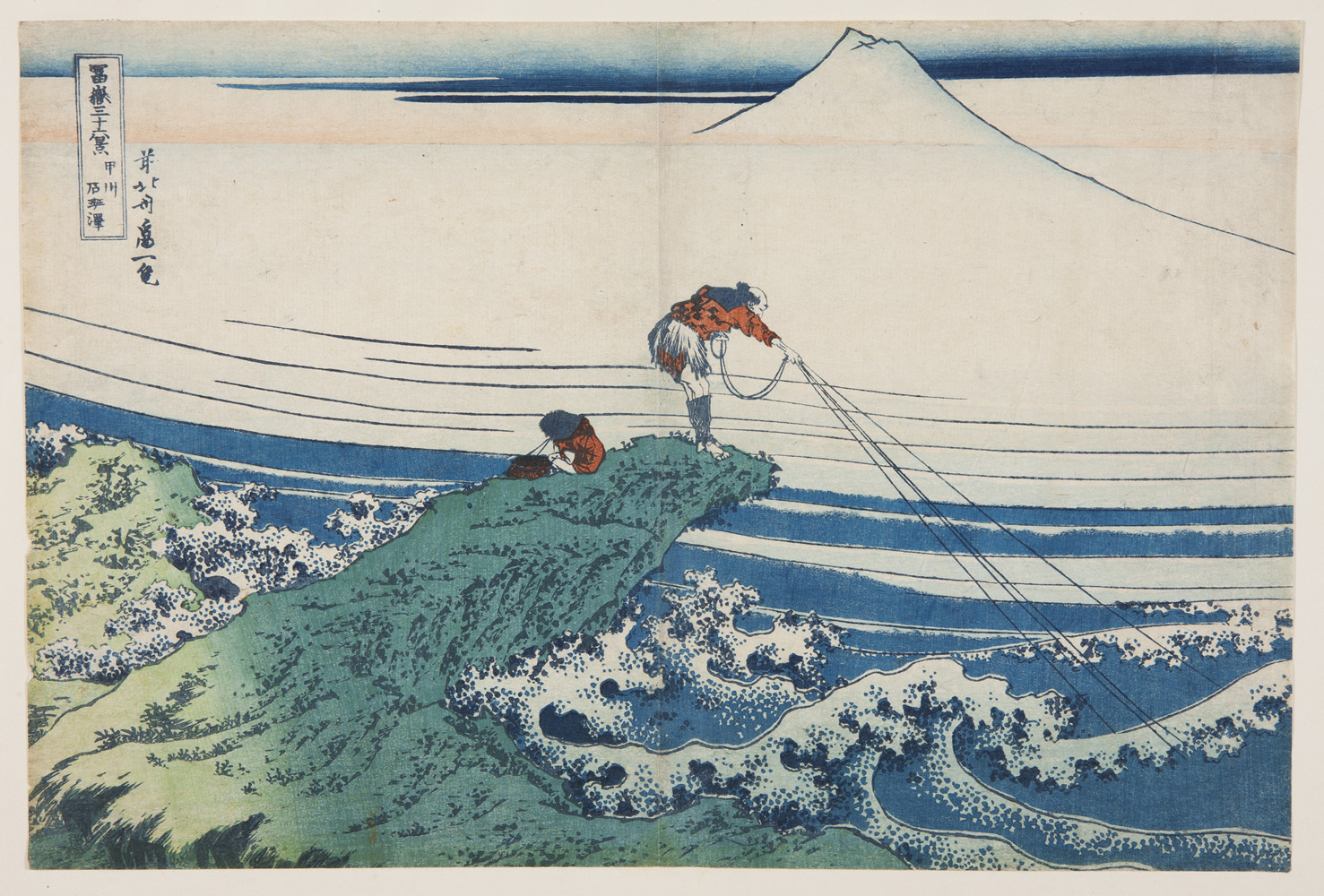 japanese print of two japanese men fishing in waves. there is a mountain in the background.