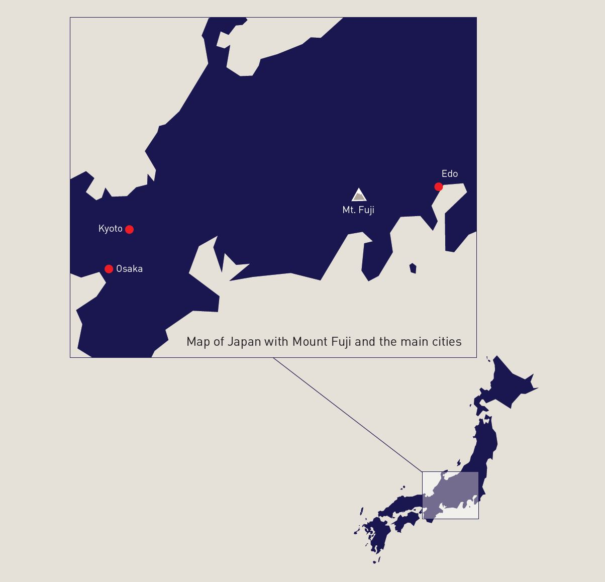 Map of Japan with detail of area including Mount Fuji, Kyoto, Osaka and Edo.