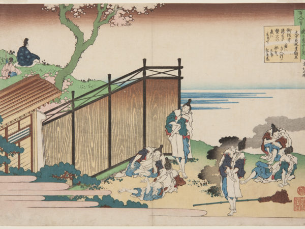 Japanese print of group of people in disheveled traditional clothes, lying, standing and sitting outside a building. Behind on a hill top a figure sits serenely looking out over the landscape, an attendant sits behind.