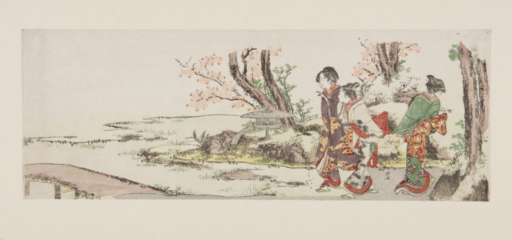 Japanese print of Three Women Viewing Cherry Blossom, The women are dressed in elaborate traditional costume.