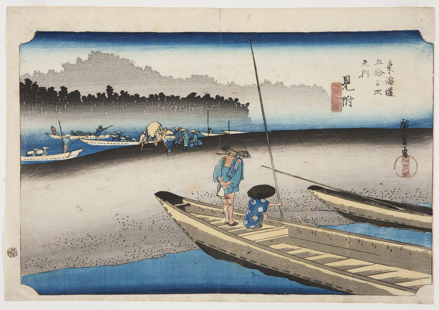 a japanese print of a ferry in the foreground with two people on it. in the background merchants and travellers stand or sit on ferries