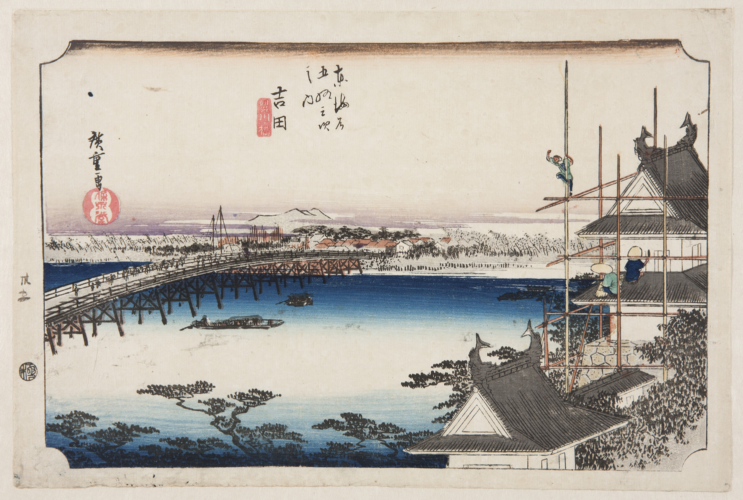 Japanese print of a landscape. To the right a scaffold surrounds a building. One worker looks out over the landscape, two others work on the roof. The landscape below shows a wide river, a bridge, a distant village and mountains.