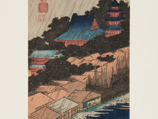 Japanese print of a landscape. in the foreground is water with boats, the shoreline has buildings, behind these are trees and a temple on a hill. Rain slants top right, bottom left, across the scene.