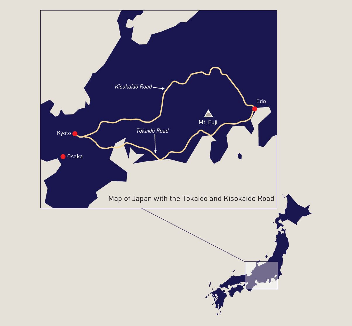 Map of Japan with the Tokaido and Kisokaido Road