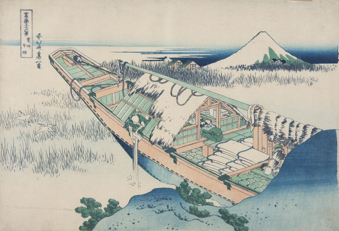 Japanese print of a barge, half of which is visible. A man is emptying a bucket of water over the side. Two storks fly off. In the background we can see a mountain and houses.