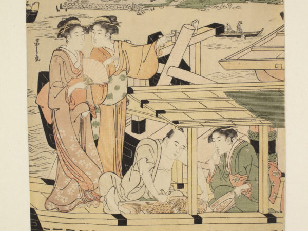 Japanese print of a river scene. Four people are on a boat on the river. Two women, in traditional clothes, are standing and two people are seated under a canopy. In the distance we see small boats and, on the far bank, a town.