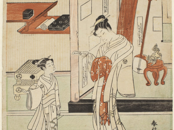 Japanese print of two figures standing in traditional robes in a room. The woman wears long flowing robes and the young attendant looks at her. Behind them are musical instruments and a stool.