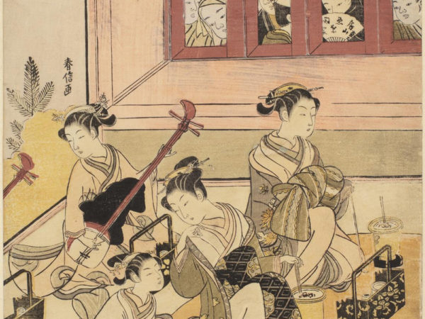 Japanese print of three female musicians and a girl attendant. They wear traditional robes and are seated and performing for an unseen audience. Behind them and peering through the four windows are six onlookers.