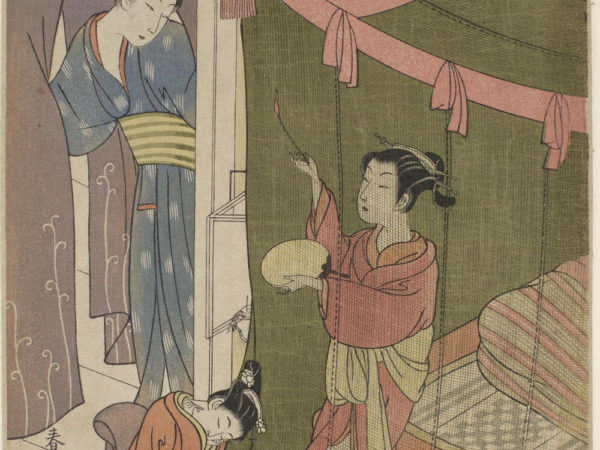 Japanese print of a group of three women dressed in traditional robes. One women is kneeling inside a netted area, holding a fan and looking out. Outside a smaller figure is kneeling with her eyes closed, behind her a third person stands and holds the curtains of the room