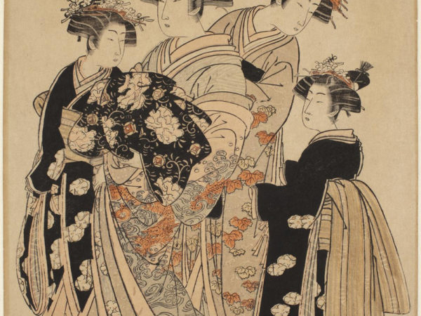 Japanese print of four women standing and dressed in traditional robes. They are wearing platform shoes.