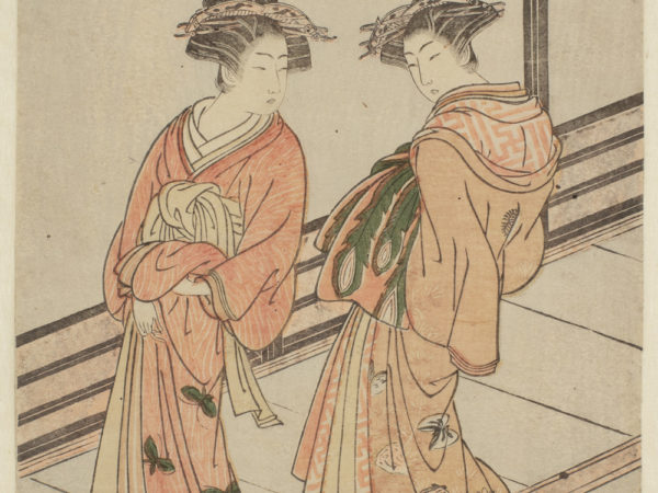 Japanese print of two women dressed in traditional robes, standing on a walkway.