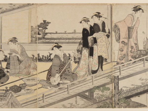 Japanese print of a group of women in traditional clothes in an upstairs room overlooking a garden. On the left two women are seated and drinking tea, next to them a woman looks down holding a teapot. In the centre a woman is kneeling playing a musical instrument, two women turn and look at her. On the right a woman is seated and a woman bends to talk to her.