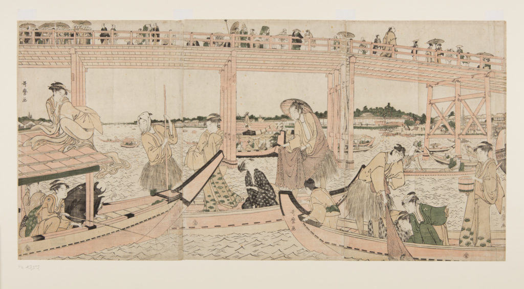 Japanese print of a busy river scene. Boats with passengers in traditional dress sail on the river, a woman climbs onto the canopy. A bridge spans the river and people walk over it.