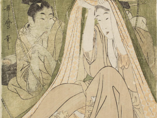 A Japanese print of two seated women dressed in traditional robes. One woman is pulling the mosquito net, which hangs down, over her head. The other person looks on behind the net .