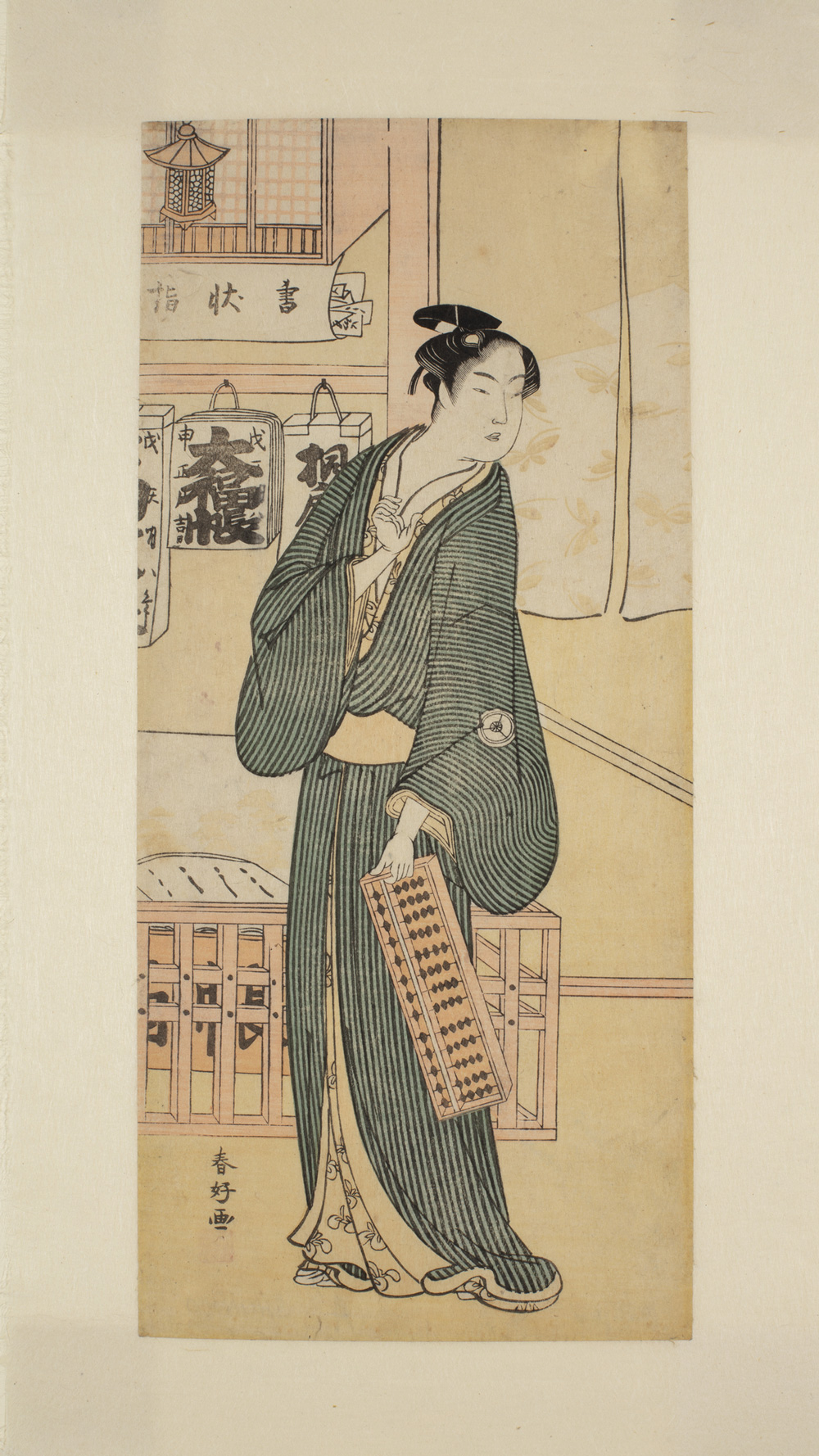 A Japanese print of a man standing and dressed in traditional robes holding an abacus.