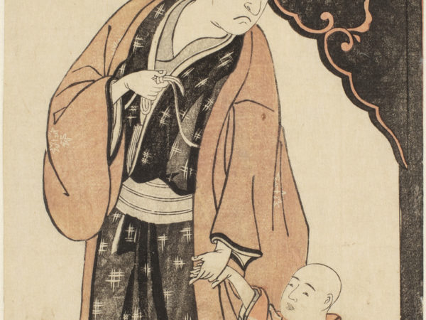 Japanese print of an older actor, dressed in traditional robes, looking down at a child whose hand he is holding.