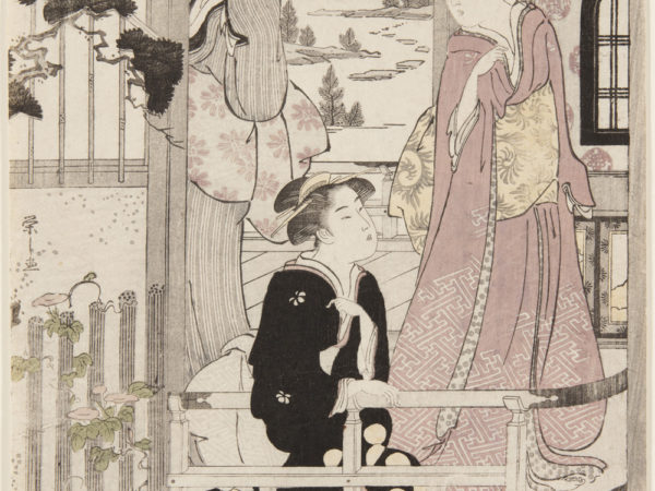 Japanese print of three women, dressed in traditional clothes, standing and kneeling on a veranda which looks out into a garden.