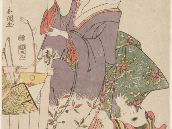 Japanese print of a woman dressed in traditional clothes holding a decorated branch, she looks down at a small child who is reaching up to her.