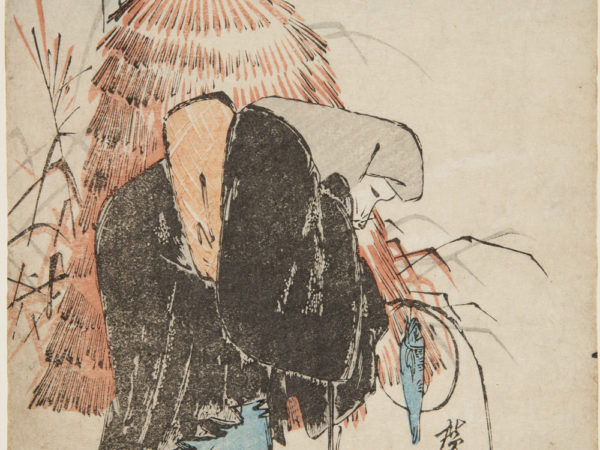 Japanese print of a bent figure dressed in traditional clothes, appears to have a fox face, holding line with a dangling fish, there are haystacks and a full moon in the background.