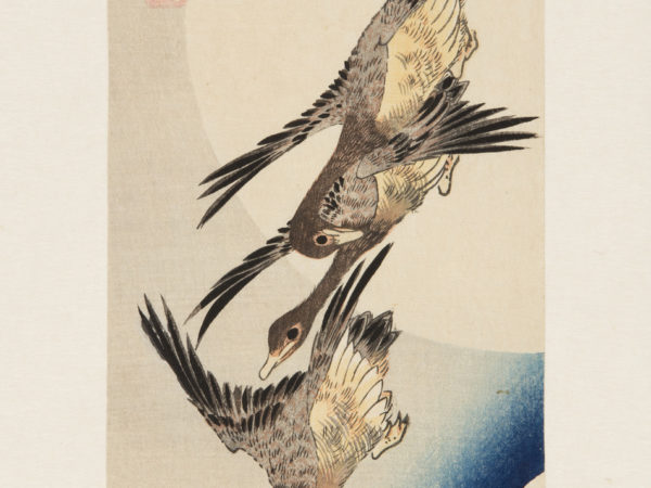 Japanese print of three geese flying, swooping down, a full moon is in the background.