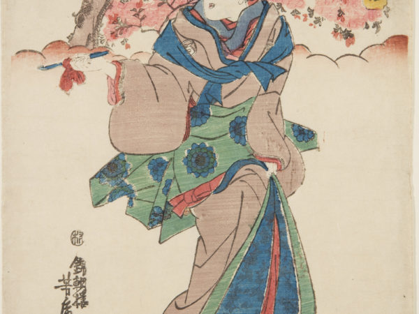 Japanese print of a person dressed in elaborate traditional clothes walking among the cherry blossom.