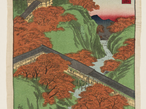 Japanese print of an aerial view of a landscape, a long covered walkway crosses a river and leads up a hill to a building.