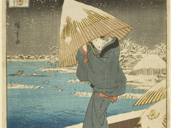 Japanese print of a figure dressed in traditional costume standing outside in the snow next to a river, they huddle under an umbrella covered in snow.