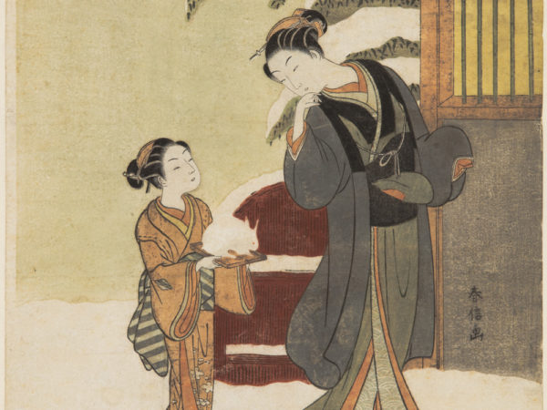 Japanese print of two women dressed in traditional clothes walking in the snow, one leans back to her attendant walking behind her.