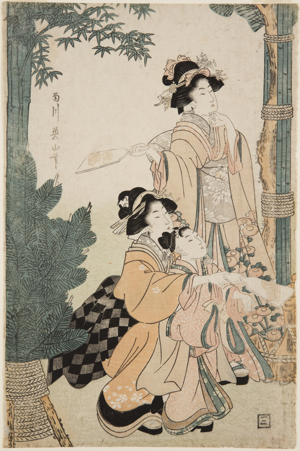 Japanese print of three women dressed in traditional clothes playing a game outside, one stands holding a bat ready, the other two crouch and one helps the other hold the bat.