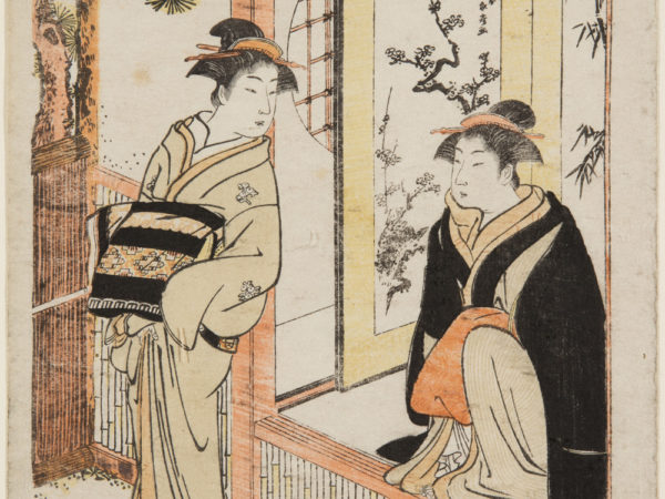 Japanese print of two women dressed in traditional clothes, one is standing in the garden looking back at the other kneeling on the terrace.