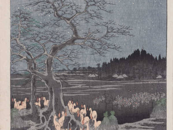 Japanese print of a night time scene on New Years Eve with stars in the sky, marsh and distant buildings in the background and a large group of foxes glow (foxfires) under a tree.
