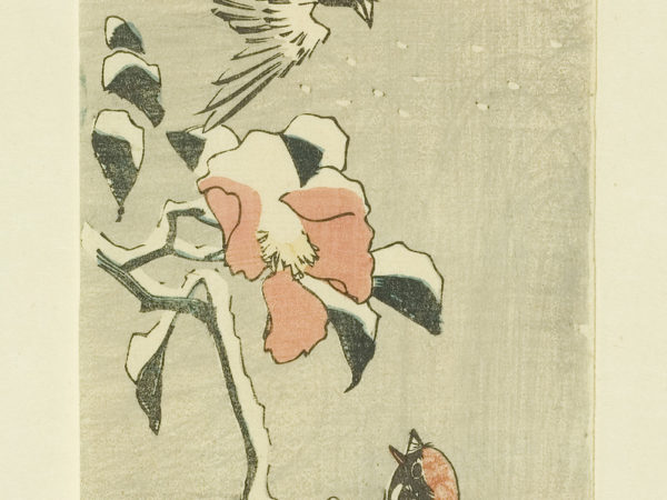 Japanese print of two sparrows one sat on a branch looking at the other flying down, it is snowing.