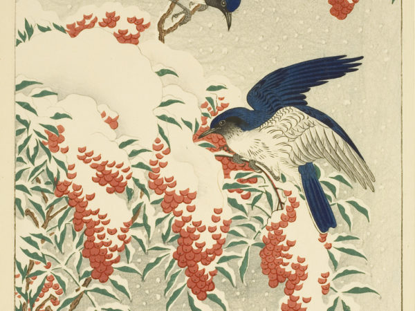 Japanese print of two birds eating berries from a snow covered tree with the snow coming down