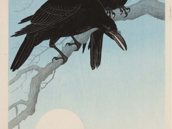 Japanese print of two black crows sat on a bare branch with the full moon shining below.