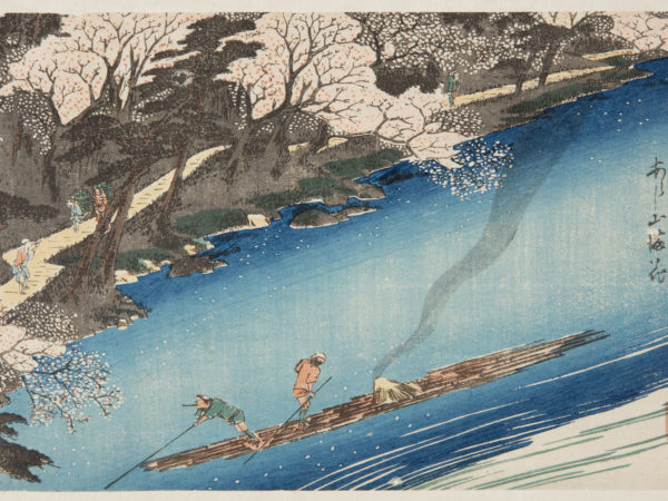 Japanese print of a river scene, two men punt their barge down the river, people walk along the banks through the cherry trees.