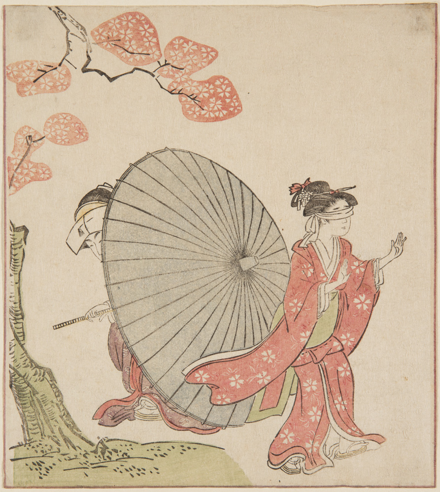 Japanese print of a couple dressed in traditional clothes, the woman has her eyes covered and is looking for the man partly hidden behind a large open umbrella.