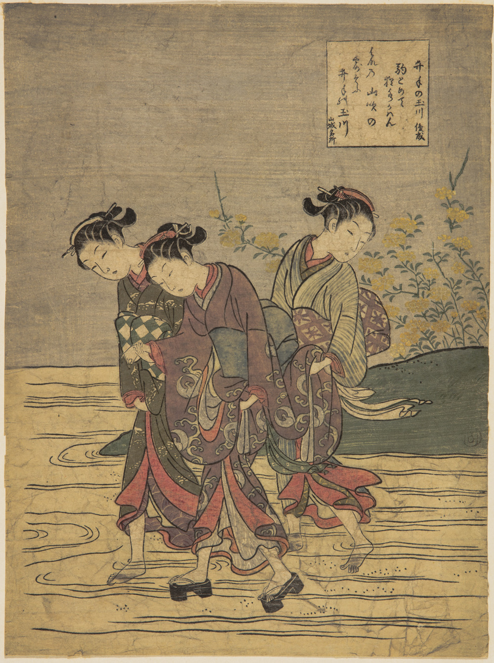 Japanese print of three women in traditional clothes, they hold their skirts up as they walk through water, two are barefoot, one wears platform shoes, the bank behind has flowers on it.