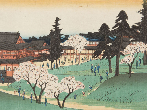 Japanese print showing a large Japanese temple with many small figures dressed in traditional costume walking in the grounds.