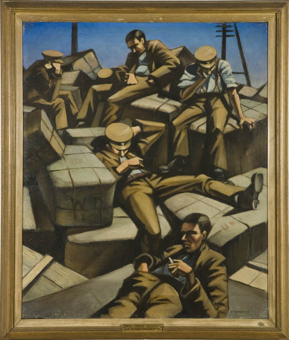 Painting depicting soldiers sleeping titled dog tired by christopher nevinson