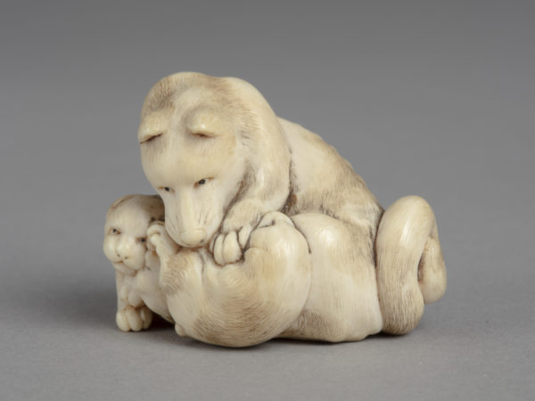 A Japanese ivory netsuke of a dog playing with two puppies. One puppy is rolled over, the other by the dog gazing up.